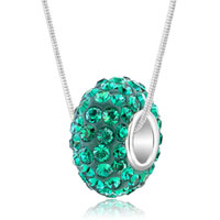 Sterling Silver - emerald green swarovski crystals shamballa ball bead 925 sterling silver core charm brands charms bracelets pendant Image.