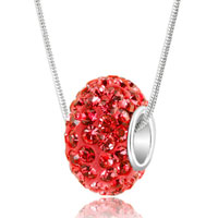 Sterling Silver - light red swarovski crystals shamballa ball bead 925 sterling silver core charm brands charms bracelets pendant Image.