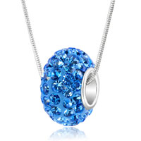 Sterling Silver - sapphire blue september birthstone swarovski crystals shamballa ball bead 925 sterling silver core charm brands charms bracelets pendant Image.