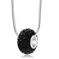Necklace & Pendants - birthstone classic black swarovski crystals shamballa ball bead 925 sterling silver core charm bracelet & pendant necklace Image.