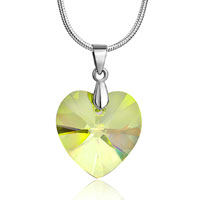 Necklaces - 925 sterling silver peridot green swarovski crystal heart pendant necklace women Image.