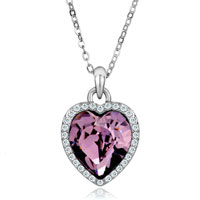 Necklace & Pendants - beautiful february birthstone purple swarovski crystal heart gift pendant necklace for women Image.