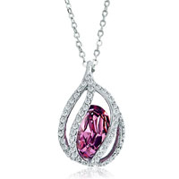 Necklace & Pendants - drop clear crystal february birthstone amethyst swarovski oval pendant gift for women Image.