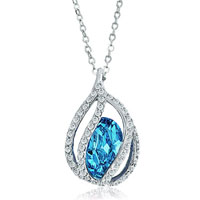 Necklace & Pendants - blue aquamarine teardrop crystal pendant necklace for women Image.