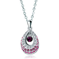 Necklace & Pendants - swarovski crystal princess pink teardrop pendant necklace for women Image.