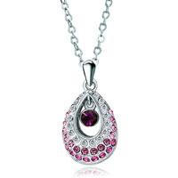 Necklace & Pendants - swarovski crystal princess pink teardrop pendant necklace for women Image.