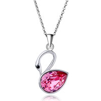 Necklace & Pendants - necklace beautiful swan october birthstone swarovski pink crystal pendant necklace for women Image.