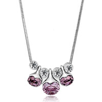 Necklace & Pendants - triple june birthstone light amethyst cz crystal oval pendant Image.