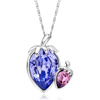 Necklace & Pendants - double leaf tanzanite light amethyst crystal pendant gift for women Image.