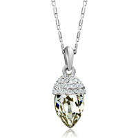 Necklace & Pendants - silver petal detailed swarovski crystal april birthstone clear oval pendant gift for women Image.