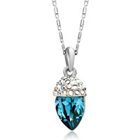 Necklace & Pendants - silver petal crystal aurore boreale detailed montana swarovski oval pendant gift for women Image.