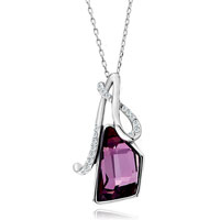 Necklace & Pendants - glove clear crystal february birthstone amethyst swarovski trapezoid pendant gift for women Image.