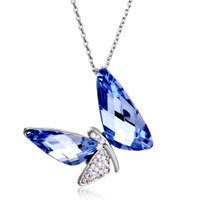 Necklace & Pendants - dragonfly crystal aurore boreale tanzanite swarovski wing pendant gift for women Image.