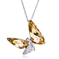 Necklace & Pendants - dragonfly crystal aurore boreale golden shadow swarovski wing pendant gift for women Image.