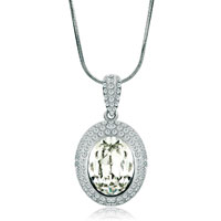Necklace & Pendants - silver oval cz crystal april birthstone clear pendant gift for women Image.