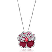 Necklace & Pendants - silver flower colorful cz crystal padparadscha drop red drip pendant Image.