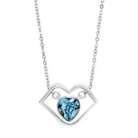Necklace & Pendants - silver lip heart march birthstone aquamarine cz crystal pendant Image.