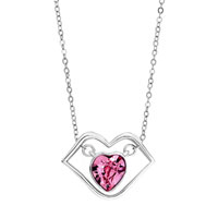 Necklace & Pendants - silver lip heart october birthstone rose swarovski crystal pendant gift for women Image.