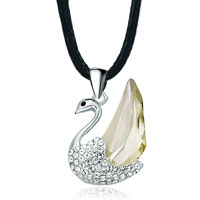 Necklace & Pendants - silver swan clear detailed swarovski crystal jonquil pegasus focal pendant gift for women Image.
