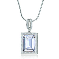 Necklace & Pendants - silver rectangle pattern hollow heart april birthstone clear swarovski crystal pendant gift Image.