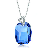 Necklace & Pendants - beautiful march birthstone aquamarine swarovski crystal oval pendant necklace for women Image.