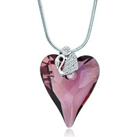 Necklace & Pendants - swan clear detailed crystal february birthstone amethyst heart pendant gift Image.