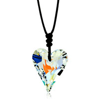Necklace & Pendants - clear white swarovski crystal heart pendant necklace for women Image.