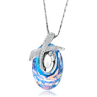 Necklace & Pendants - karma necklaces cross clear crystal aurore boreale cosmic oval pendant gift Image.