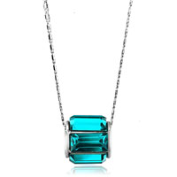 Necklace & Pendants - round december birthstone blue cz crystal bar gift pendant for women Image.