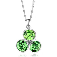 Necklace & Pendants - shinning silver clover aug birthstone peridot crystal round pendant Image.