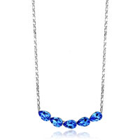 Necklace & Pendants - shinning quintet september birthstone sapphire swarovski crystal drops gift pendant Image.