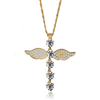 Necklace & Pendants - rose bengal cross april birthstone crystal wing pendant for women necklace Image.