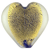 Necklace & Pendants - golden heart shaped murano glass lampwork pendant necklace Image.
