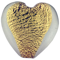 relation - heart shaped gold foil lampwork murano glass pendant Image.