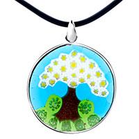 Murano Glass Jewelry - christmas tree pattern pendant necklace murano glass round Image.