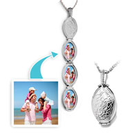Items from KS - silver oval &  flower classic pendant necklace beads charms bracelets Image.