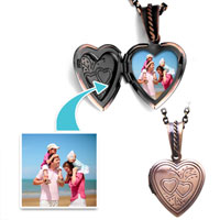 Items from KS - copper color heart double hearts pendant pendants beads charms bracelets Image.