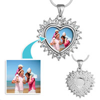 Items from KS - silver heart photo arround clear crystal pendant beads charms bracelets Image.