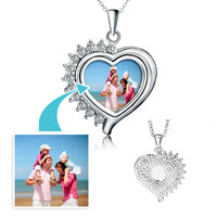 Items from KS - silver heart photo half arround clear crystal pendant beads charms bracelets Image.