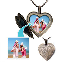 "Items from KS - bronze heart love customer photo pendant necklace 18""  beads charms bracelets Image."