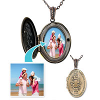 "Items from KS - bronze oval customer photo pendant necklace 18""  beads charms bracelets Image."