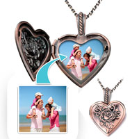 Items from KS - copper heart love customer photo flowers pendant necklace 18  beads charms bracelets Image.