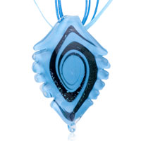 Necklaces - murano glass black swirl pale blue serrate leaf dichroic pendant necklace Image.