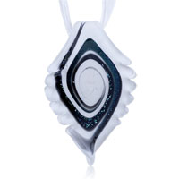 Necklaces - murano glass black swirl white serrate leaf dichroic pendant necklace Image.