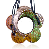 Necklaces - murano glass amber green floret dichroic pendant necklace summer fashion jewelry Image.