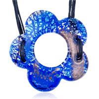 Necklaces - murano glass blue floret dichroic pendant necklace Image.
