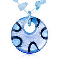 Necklace & Pendants - murano glass silver blue pendant necklace round Image.
