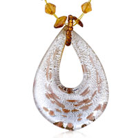 Necklaces - murano glass brown speckle silver drop pendant necklace Image.