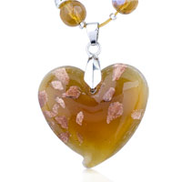 Necklaces - murano glass golden speckle amber heart pendant necklace Image.