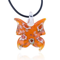 Necklace & Pendants - murano glass orange butterfly pendant necklace Image.
